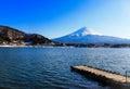 Mount fuji japan view of fiji standing behind of the kawacuchiko lake Stock Images