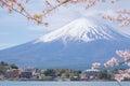 Mount Fuji from lake Kawaguchiko with cherry blossom in Yamanash Royalty Free Stock Photo