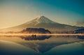 Mount fuji at Lake kawaguchiko,Sunrise , vintage Royalty Free Stock Photo