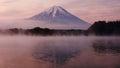 Mount Fuji from Lake Shoji with twilight sky Royalty Free Stock Photo