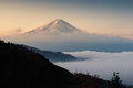 Mount Fuji with mist at sunrise, Japan Royalty Free Stock Photo