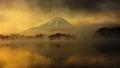 Mount Fuji at sunrise in Lake Shoji Royalty Free Stock Photo