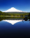 The mount Hood reflection in Trillium La Stock Photo