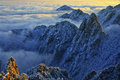 Mount huangshan sunrise in winter anhui china Stock Photography