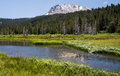Mount lassen meadow and stream at volcanic national park california Stock Image