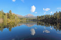 Mount Lassen reflected in Manzanita Lake Royalty Free Stock Photo