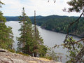 Mount linnavuori the view from the mountain of on lake saimaa in finland Stock Image
