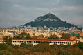 Mount Lycabettus rising from Athens Royalty Free Stock Photo