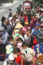 Mount merapi eruption refugees a number of evacuated by truck in klaten central java indonesia Stock Photography