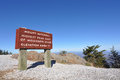 Mount Mitchell sign at highest peak in Eastern US Stock Photos