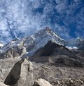 Mount Nuptse view from Everest Base Camp, Nepal Royalty Free Stock Photo