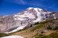 Mount rainier a close up view of reveals its glaciers Stock Photo