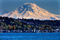 Mount rainier puget sound north seattle washington snow mountain state pacific northwest Royalty Free Stock Photos