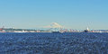 Mount rainier and puget sound rare sighting of near seattle wa during one clear summer day viewed from Stock Photography