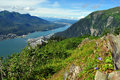 Mount roberts juneau alaska view gastineau channel and douglas island Royalty Free Stock Image