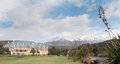 Mount Ruapehu and Chateau Tongariro Royalty Free Stock Photo