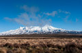 Mount ruapehu new zealand ws desert road central north island rich blue sky big copy space Royalty Free Stock Images