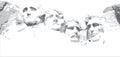 Mount Rushmore Line Drawing