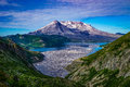Mount Saint Helens and Spirit Lake filled with logs in the foreg Royalty Free Stock Photo