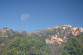 Mount tai and moon in china the over the mountains of taishan near an city shandong province Royalty Free Stock Photos