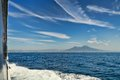 Mount vesuvius from a boat view of in the gulf Royalty Free Stock Photo