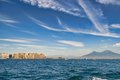 Mount vesuvius and castle from the sea view of a boat in gulf Royalty Free Stock Photos