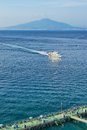 Mount vesuvius from sorrento view of and gulf of naples with bathhouse in Stock Photo