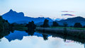 Mount warning australia at sunset with reflections in river Stock Images