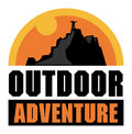 Mountain adventure sign or label color illustration Royalty Free Stock Photography