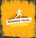 Mountain Adventure Sport Trail. Creative Vector Outdoor Concept on Grunge Background