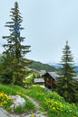 Mountain bettmeralp village summer cloudy view switzerland Stock Image
