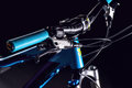 Mountain bicycle photography in studio, bike frame parts, handle bar and brakes Royalty Free Stock Photo