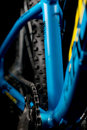 Mountain bicycle photography in studio, bike parts, chain detail Royalty Free Stock Photo