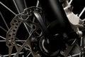 Mountain bicycle photography in studio, bike wheel with disc brakes, bike part, round Royalty Free Stock Photo