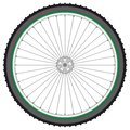 Mountain bicycle wheel on a white background, vector Stock Images
