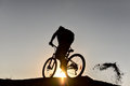 Mountain bike and crazy rider & spin the rider Royalty Free Stock Photo