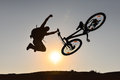 Mountain bike and crazy rider sunrise biker healthy fresh day happy relaxing man dream ve freestyle life successful Stock Photo