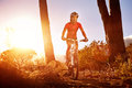 Mountain bike cyclist riding single track sunrise healthy lifestyle active athlete doing sport Stock Image