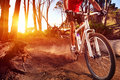 Mountain bike cyclist riding single track sunrise healthy lifestyle active athlete doing sport Royalty Free Stock Photography