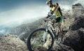 Mountain bike cyclist sport riding single track Royalty Free Stock Photos