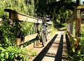 Mountain Bike on a foot bridge Royalty Free Stock Image