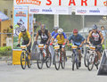 Mountain Bike Race At The Start Line. Stock Images