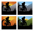 Mountain bike set with man and bike Stock Images