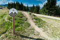 Mountain bike trail sign at practice area Royalty Free Stock Photo