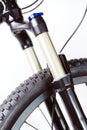 Mountain bike wheel and shock fork Royalty Free Stock Photo