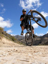 Mountain biker in action Royalty Free Stock Photo
