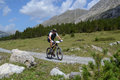 Mountain biker riding though swiss mountain area graubunden switzerland august unidentified taking part in the yearly held multi Royalty Free Stock Photos