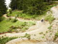 Mountain bikers riding through woods bike trail Stock Photos
