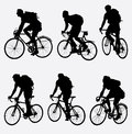 Mountain bikers silhouette vector illustration Stock Image