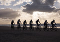 Mountain bikers taking part in the beach race egmond pier egmond netherlands january unidentified contestants of annual bike Royalty Free Stock Photos